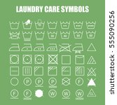 laundry care symbols set. wash  ... | Shutterstock .eps vector #555090256