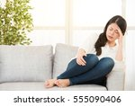woman suffering headache... | Shutterstock . vector #555090406