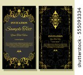 invitation card with floral... | Shutterstock .eps vector #555093334