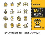 vector set of linear icons for... | Shutterstock .eps vector #555099424