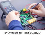technician repairs electronics | Shutterstock . vector #555102820