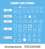 laundry care symbols set. wash  ... | Shutterstock .eps vector #555105430