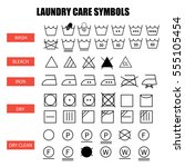 laundry care symbols set. wash  ... | Shutterstock .eps vector #555105454
