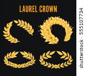 laurel crown set. greek wreath... | Shutterstock .eps vector #555107734