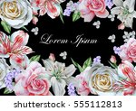 invitation card with watercolor ... | Shutterstock . vector #555112813