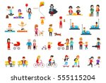 people rest in the park vector... | Shutterstock .eps vector #555115204