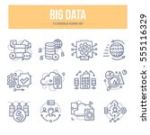 doodle vector line icons of big ... | Shutterstock .eps vector #555116329