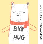bear head drawing for baby tee ... | Shutterstock .eps vector #555118774