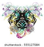 colorful floral wolf head... | Shutterstock .eps vector #555127084