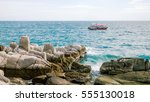 lonely boat on the sea take...   Shutterstock . vector #555130018