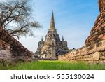 the beautiful chedi with a blue ...   Shutterstock . vector #555130024