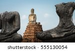 ancient buddha at...   Shutterstock . vector #555130054