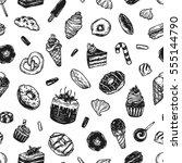 vector sweets. seamless pattern ... | Shutterstock .eps vector #555144790