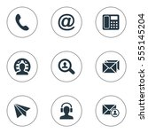 set of 9 simple contact icons.... | Shutterstock .eps vector #555145204