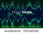 music beat vector. green lights ... | Shutterstock .eps vector #555160183