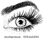 eyes beautiful young girl... | Shutterstock .eps vector #555163354