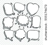 doodle of speech comic bubbles. ... | Shutterstock .eps vector #555174673