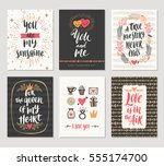 vector set of valentine's day... | Shutterstock .eps vector #555174700