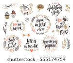 valentine's day hand drawn... | Shutterstock .eps vector #555174754