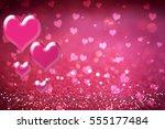 valentine' day pink hearts ... | Shutterstock . vector #555177484