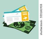 ticket travel airline dollar... | Shutterstock .eps vector #555181933