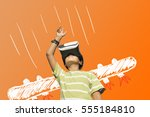 the boy wearing virtual reality ... | Shutterstock . vector #555184810