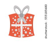 cute gift box dotted ribbon... | Shutterstock .eps vector #555185680