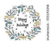 christmas greeting wreath.... | Shutterstock . vector #555193348