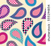 paisley pattern a patchwork... | Shutterstock .eps vector #555194854