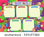 school timetable schedule ... | Shutterstock .eps vector #555197383