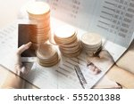 double exposure of set coin on... | Shutterstock . vector #555201388
