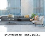 Stock photo empty sofa and chair interior decoration in hotel lobby 555210163