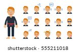 big set of karate man emoticons.... | Shutterstock .eps vector #555211018