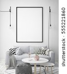 mock up poster frame in hipster ... | Shutterstock . vector #555221860