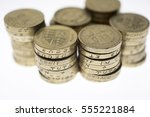 Piles Of Uk Pound Coins