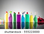 cleaning products. home... | Shutterstock . vector #555223000
