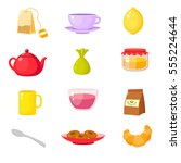 set of elements for tea. cups ... | Shutterstock .eps vector #555224644