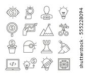 startup business concept icons... | Shutterstock .eps vector #555228094