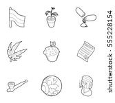 hashish icons set. outline... | Shutterstock . vector #555228154
