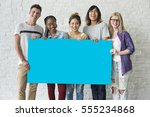 group of friends holding blank... | Shutterstock . vector #555234868
