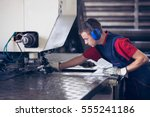 inside a factory  industrial... | Shutterstock . vector #555241186