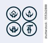 life insurance icon set | Shutterstock .eps vector #555262888