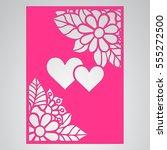 die cut card. laser cut vector... | Shutterstock .eps vector #555272500