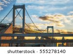rainbow bridge in tokyo city at ... | Shutterstock . vector #555278140