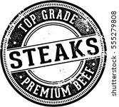 vintage style top grade steaks... | Shutterstock .eps vector #555279808