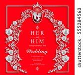 wedding invitation card...   Shutterstock .eps vector #555284563