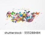 sharpening shavings  on white...   Shutterstock . vector #555288484