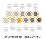 infogaphic timeline diagram.... | Shutterstock .eps vector #555289750