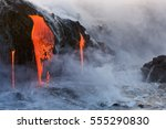 Molten Lava Dripping Into The...