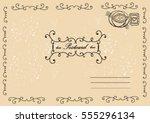 vector vintage postcard with... | Shutterstock .eps vector #555296134